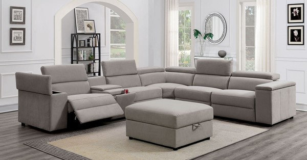 JOSEF CONTEMPORARY STYLE GRAY FINISH POWER RECLINERS SECTIONAL