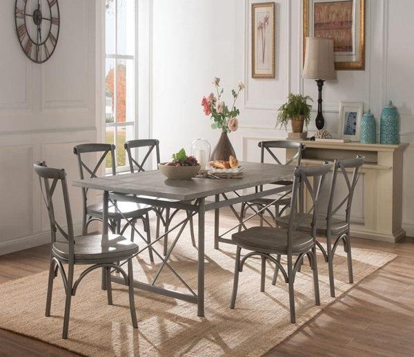 Kaelyn II 7PC dining table in gray oak sandy gray  by ACME