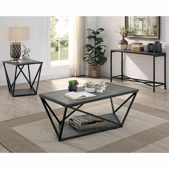 Furniture of America Contemporary Grey Metal Coffee Table