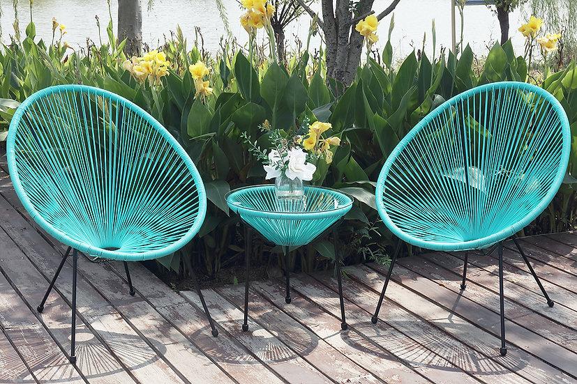 Cancun 3 pc conversation set Turquoise