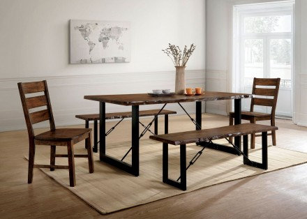 Furniture of America Dulce 5 Piece Rustic Dining Table Set