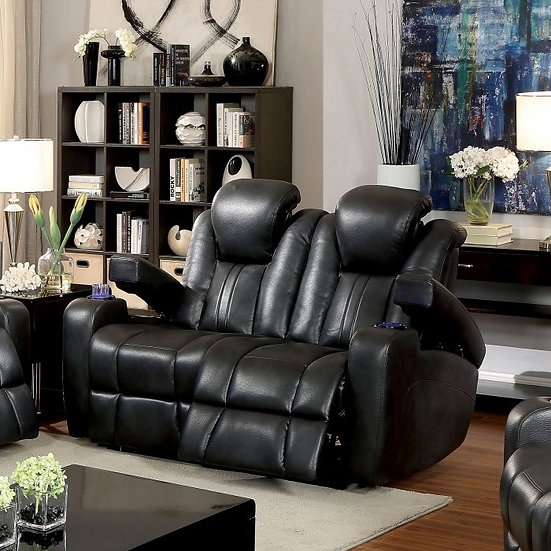 Furniture of America Zaurak Contemporary Style Leatherette Recliner Loveseat