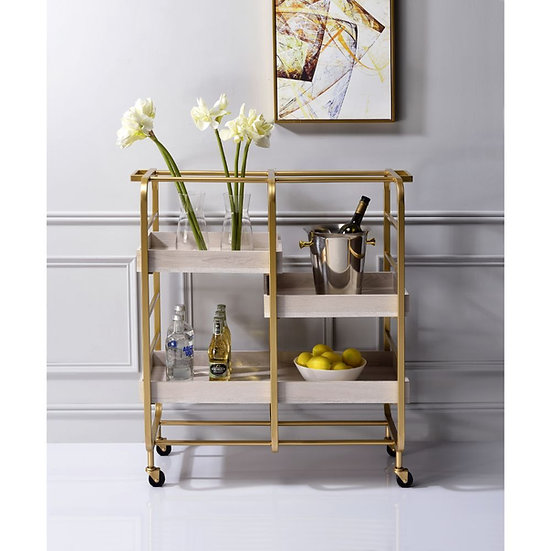 ACME Industrial MetalGold & White-Washed Serving Cart