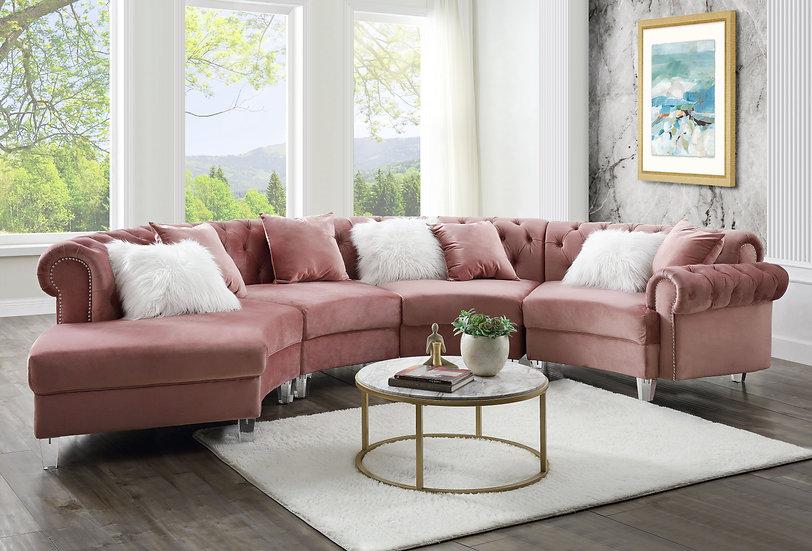 Acme Velvet Tufted Sectional Sofa