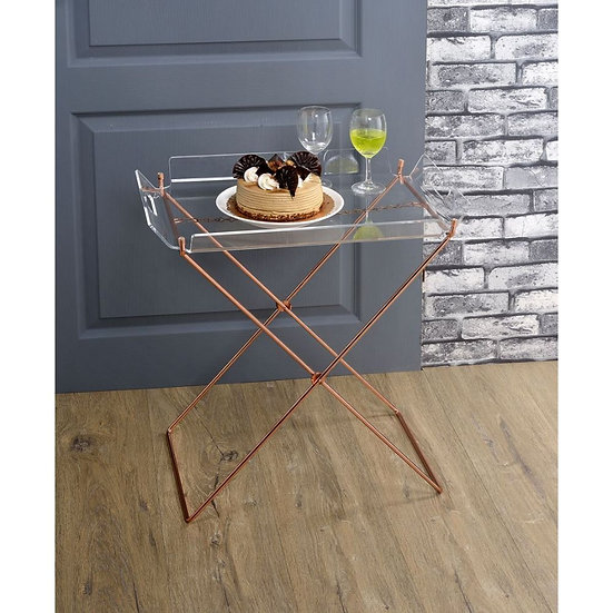 ACME  Clear Acrylic & Copper Tray Table