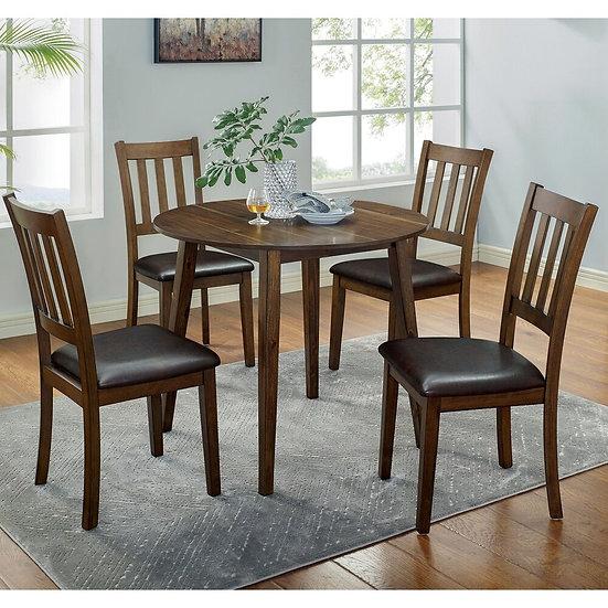 Furniture of America Walnut 5-piece Dining Table Set