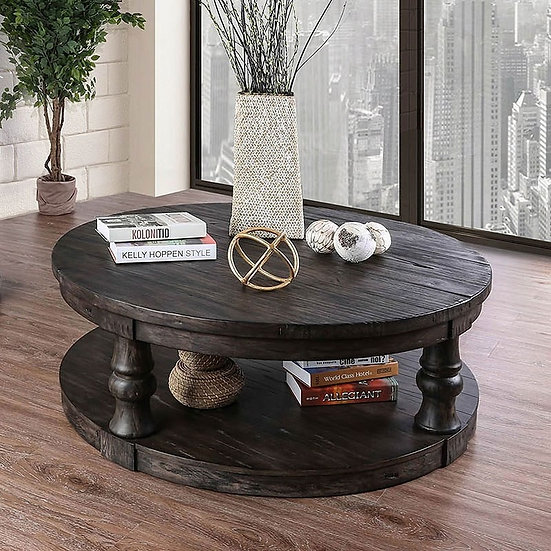 Furniture of America Mika Rustic Round Coffee Table