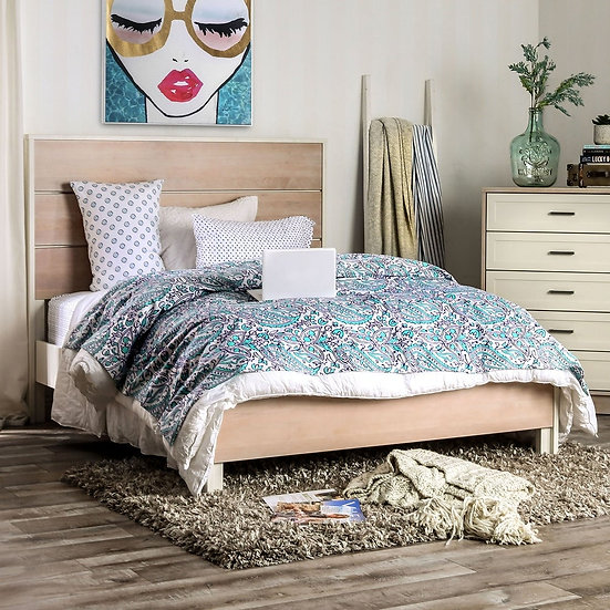 Furniture of America Roseburg Queen Mid-Century Brown and Cream Platform Bed