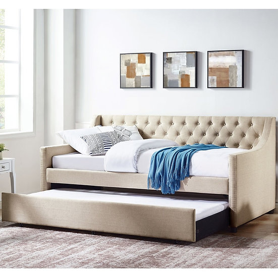 Furniture of America Beige Tufted Full Daybed with Trundle