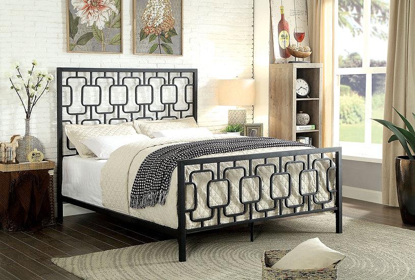 Cece Black Cal King Panel Bed