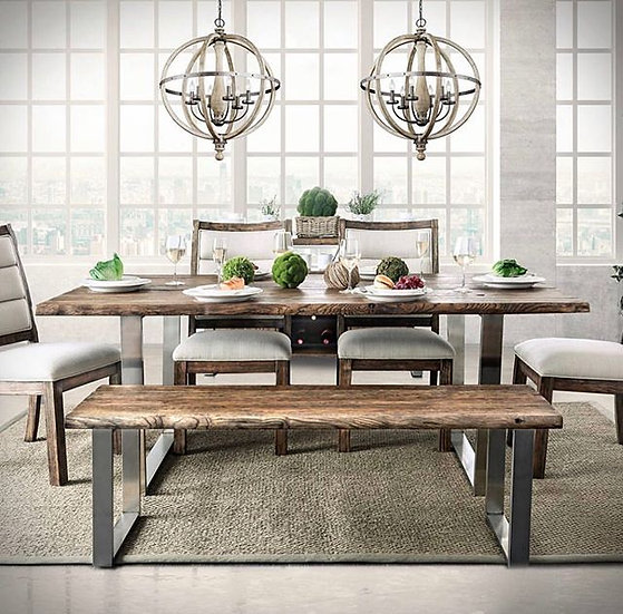 Furniture of America Mandy Dining Table, 4 Chairs, bench & server