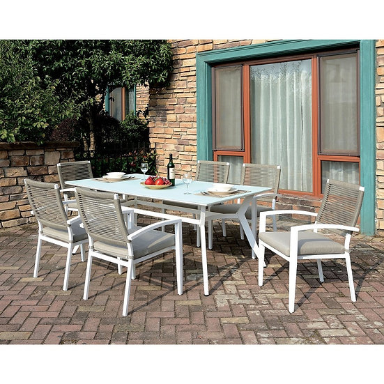 Furniture of America Transitional White 7-piece Patio Dining Set