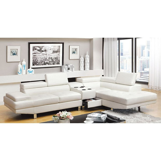 Furniture of America Kemina 2 Piece Sectional Sofa with Bluetooth Console