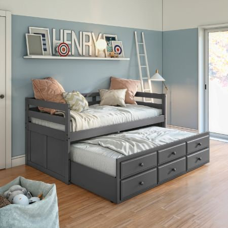 ACME Captain Bed in Gray Finish