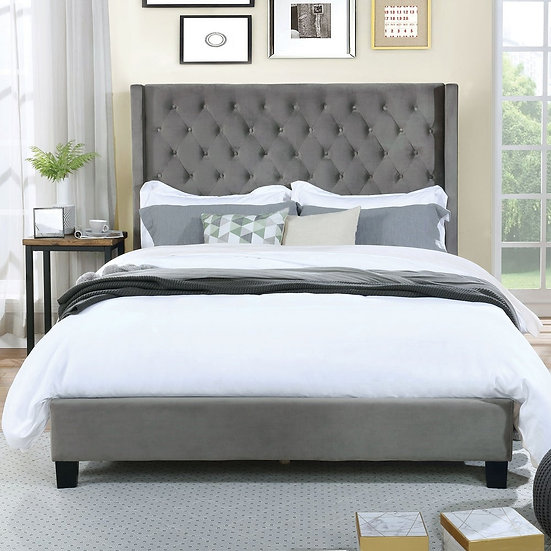 Furniture of America RylieghTransitional Flannelette E. King Platform Bed