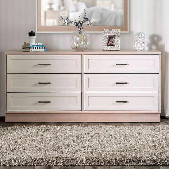 Furniture of America Roseburg Mid-Century Modern Cream 6-drawer Dresser