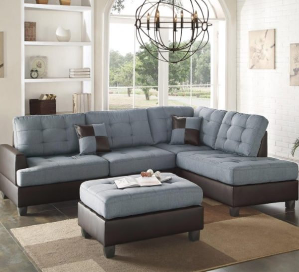 3-Piece Grey Sectional Sofa with Ottoman