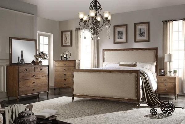 Inverness Parker Reclaimed Oak King Upholstered Panel Bed