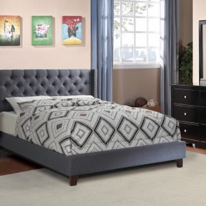 Haven Modern Blue/Grey Fabric Bed