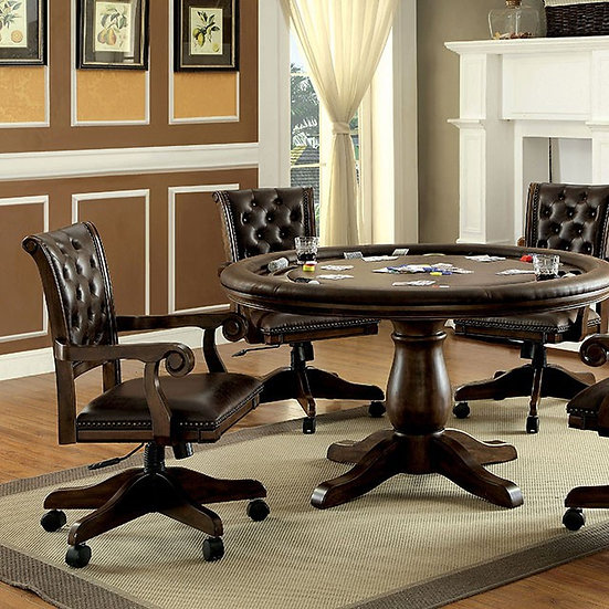 Furniture of America Kalia Traditional Brown Round Game Table