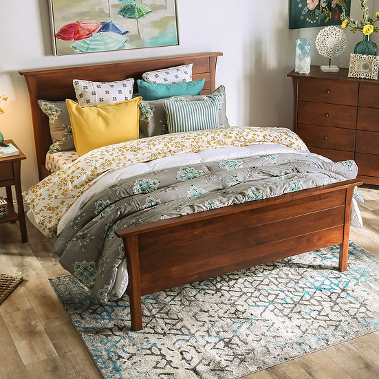 Furniture of America Keizer Queen Transitional Cherry Solid Wood Platform Bed