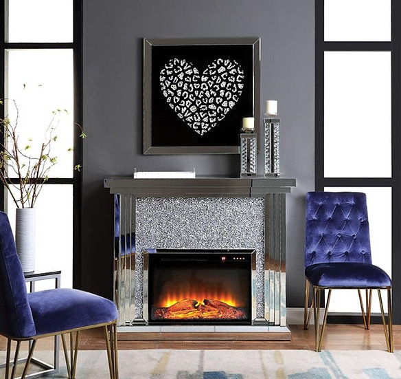 Noralie Fireplace, Mirrored and Faux Diamonds