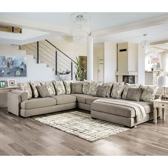 Furniture of America Transitional Grey Solid Wood Sectional