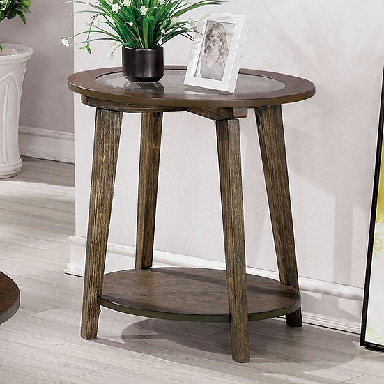 Furniture of America Mid-century Oak Solid Wood End Table