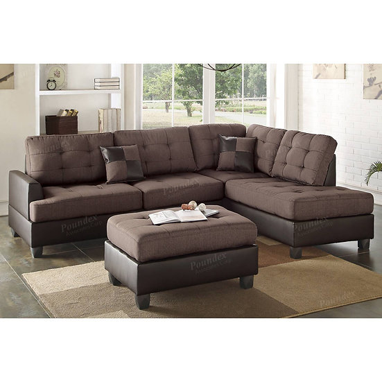 Sectional Sofa 3Pc in Chocolate