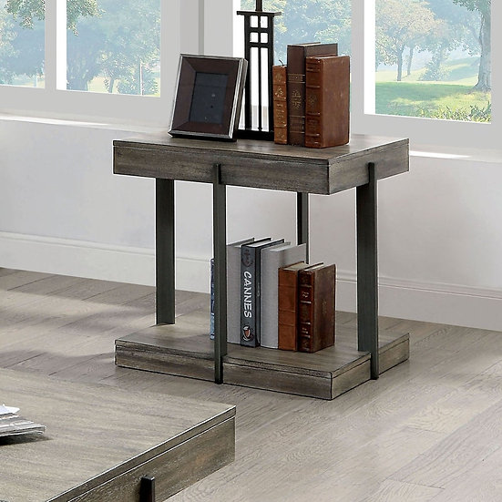 Furniture of America Antique Gray Tual End Table