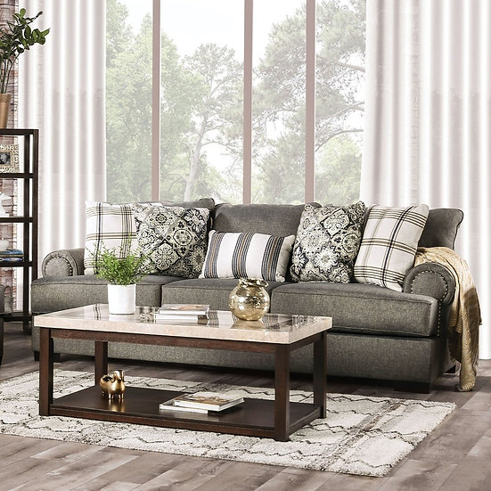 Furniture of America Transitional Nailhead Trim Sofa - Granite