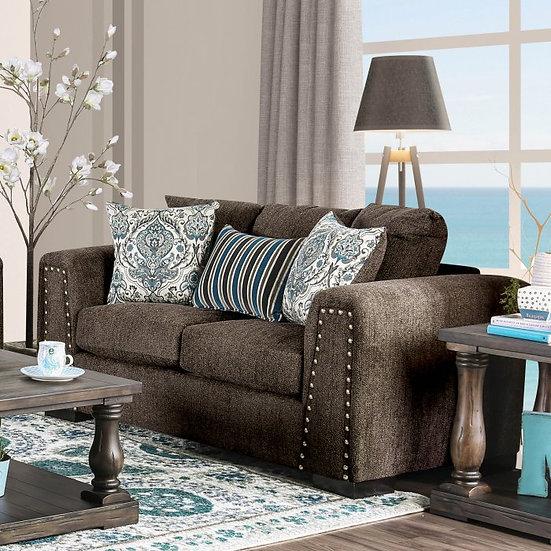 Furniture of America Pauline Brown Chenille Nailhead Loveseat