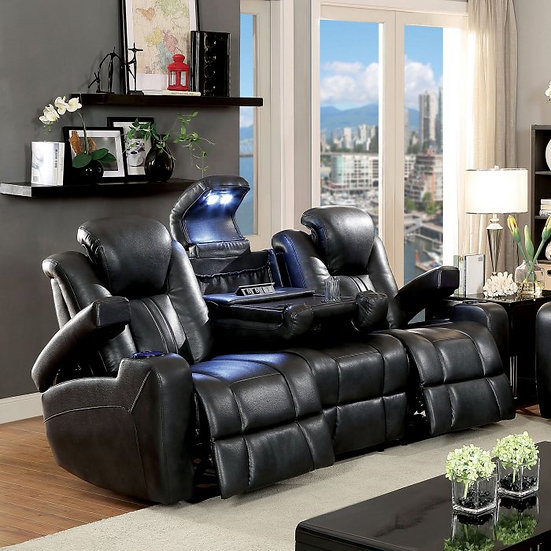 Furniture of America Zaurak Contemporary Style Leatherette Recliner Sofa