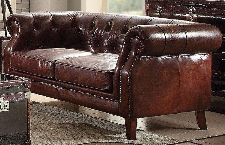 Aberdeen Vintage Dark Brown Leather Loveseat