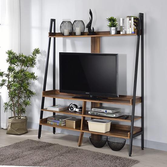Furniture of America Farmhouse Matte Black Open-shelf TV Stand