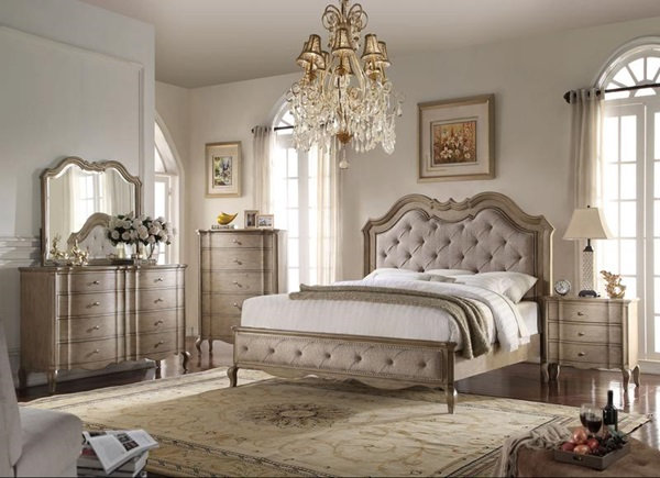 Chelmsford Queen Bed, Tan Fabric and Antique Taupe