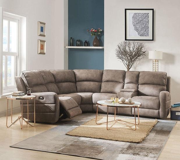 ACME Olwen Power Motion Sectional Sofa with USB Power Dock in Mocha Nubuck