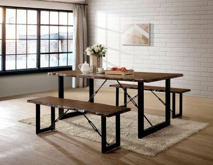 Furniture of America Dulce 3 Piece Rustic Dining Table Set