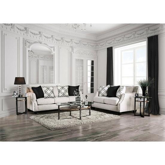 Furniture of America Ivory Phoibe 2 Piece Sloped Sofa Set
