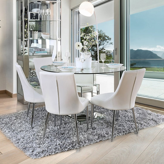 Furniture of America  Contemporary White 5-piece Round Dining Set