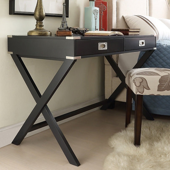 X Base Wood Accent Campaign Writing Desk