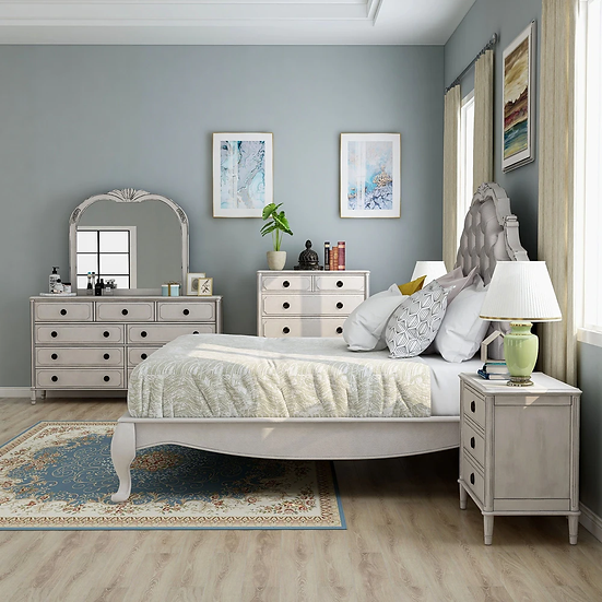 Furniture of America E.King Traditional White 6-piece Bedroom Set