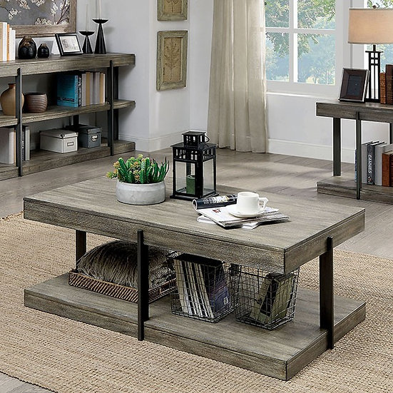 Furniture of America Antique Gray Tual Coffee Table