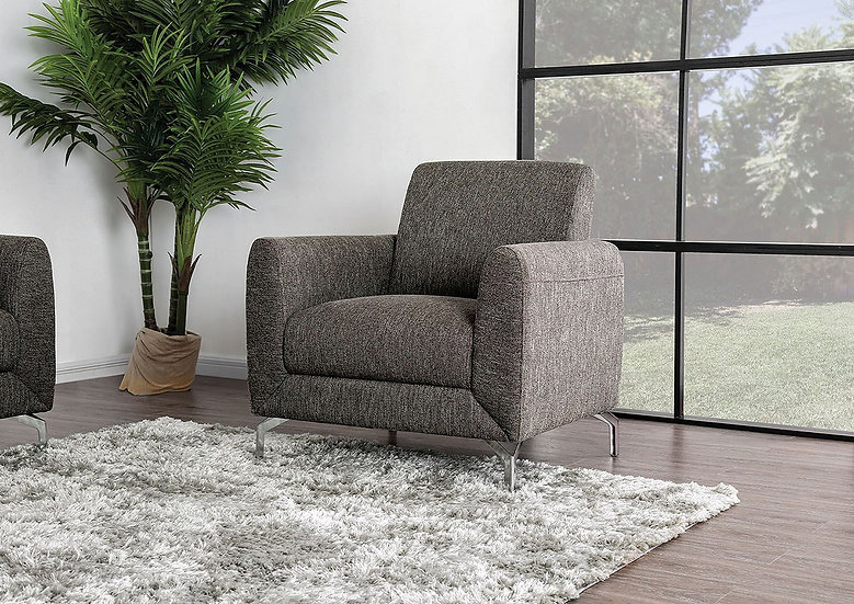 Furniture of America Lauritz Contemporary Brown Linen Accent Chair