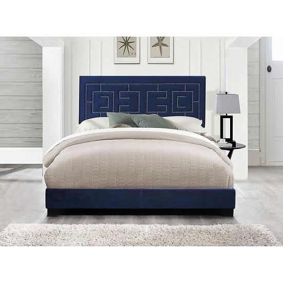 ACME Ishiko III Queen Bed in Dark Blue Velvet