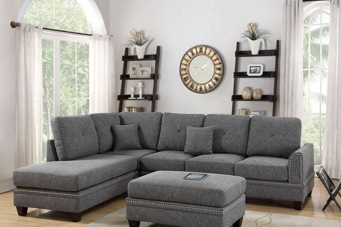 Gray Fabric Upholstered 2-Pcs Sectional Sofa Set