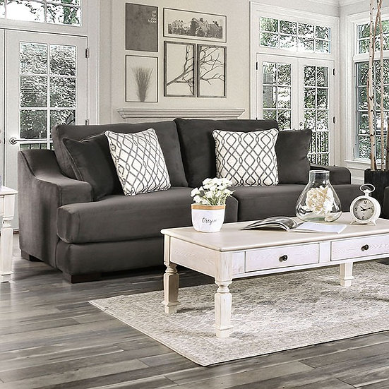 Furniture of America Contemporary Charcoal Sofa