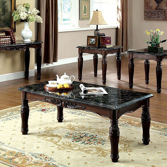 Furniture of America Traditional Marble Top 3-piece Accent Table Set