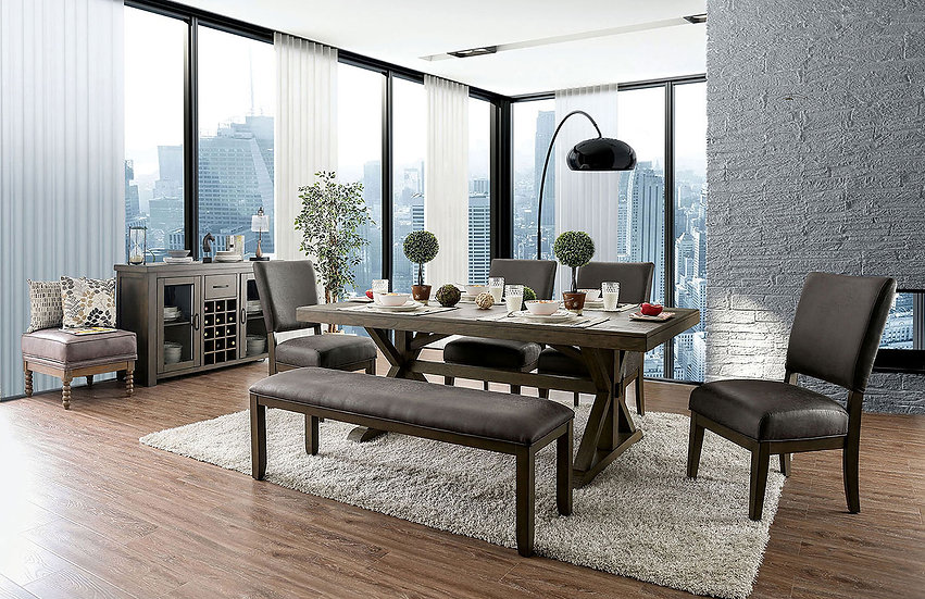 Furniture of America Irving Dining Set 6 chairs & table (Bench not included)