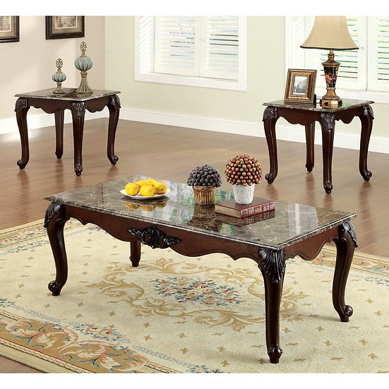 Furniture of America Traditional Cherry 3-piece Accent Tables Set